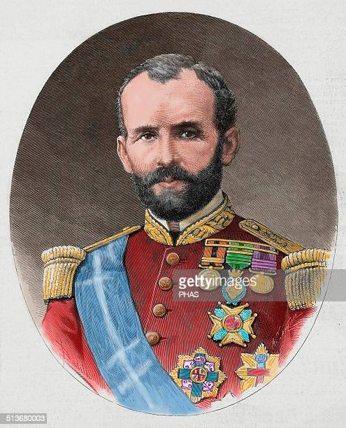 Emilio Calleja Spanish Military Captain General of the island of Cuba Engraving in The Spanish and American Illustration 1886 Colored