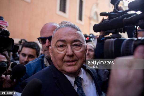 Emilio Carelli new member of italian parliament by 5Star Movement party arrives at press conference held from Luigi Di Maio leader of Italy's party...