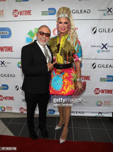 Emilio Estefan and Elaine Lancaster attends at Regal Cinemas South Beach Stadium 18 on April 22 2017 in Miami Florida