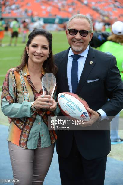 Emilio Estefan and Gloria Estefan attend Miami Dolphins VS NY jets game at Sunlife Stadium on September 23, 2012 in Miami, Florida.