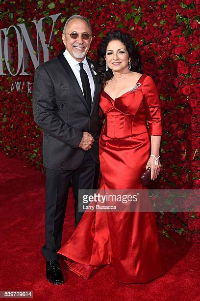 Emilio Estefan and Gloria Estefan attend the 70th Annual Tony Awards at The Beacon Theatre on June 12 2016 in New York City