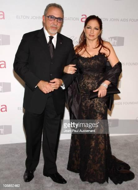 Emilio Estefan and Gloria Estefan during 15th Annual Elton John AIDS Foundation Oscar Party Arrivals at Pacific Design Center in West Hollywood...