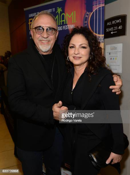 Emilio Estefan and Gloria Estefan pose at the Emily Estefan Concert at the University of Miami Frost School of Music on February 2 2017 in Miami...