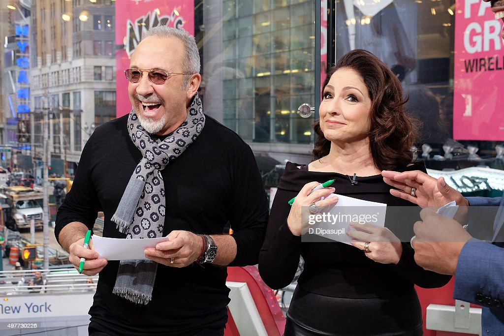 Emilio Estefan (L) and Gloria Estefan visit 'Extra' at their New York Studios at H&M in Times Square on November 18, 2015 in New York City.