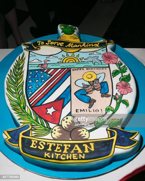 Emilio Estefan birthday cake is seen during the grand opening of the Estefan Kitchen restaurant at the Palm Court in the Design District on March 3...