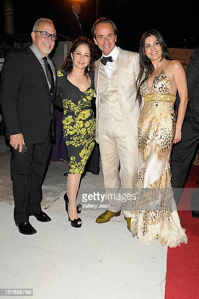 Emilio Estefan Gloria Estefan Frederic Marq and Adriana De Moura leaving the Bacardi 150th Anniversary Celebration on January 28 2012 in Miami Florida