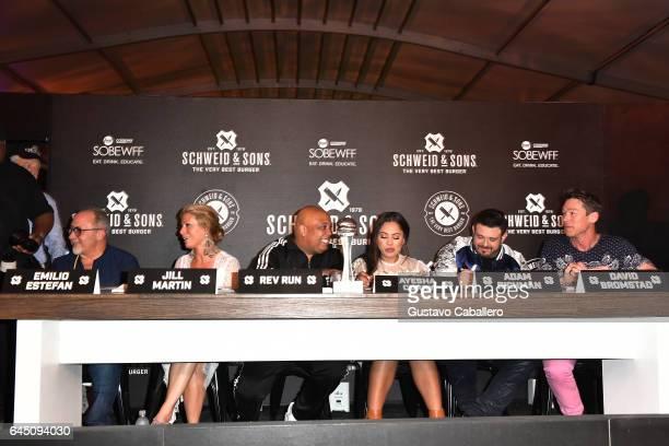 Emilio Estefan Jill Martin Rev Run Ayesha Curry Adam Richman and David Bromstad judge the Heineken Light Burger Bash Presented by Schweid Sons Hosted...