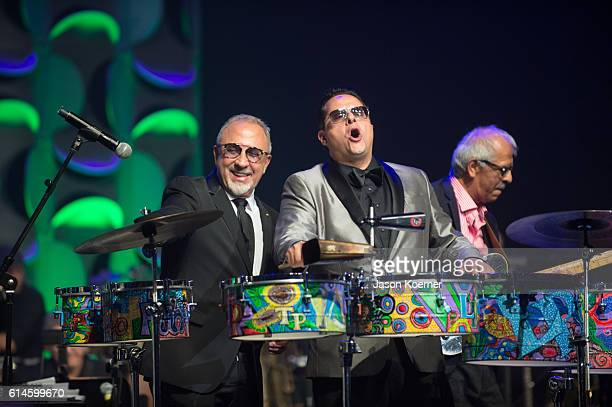 Emilio Estefan Tito Puente Jr and Jorge Santana perform on stage at the Latin Songwriters Hall of Fame at the Fillmore Miami Beachon October 13 2016...