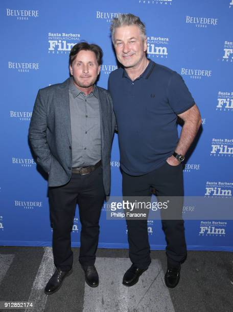 Emilio Estevez and Alec Baldwin celebrate with Belvedere Vodka at Santa Barbara Film Festival's Opening Night at Arlington Theatre on January 31 2018...