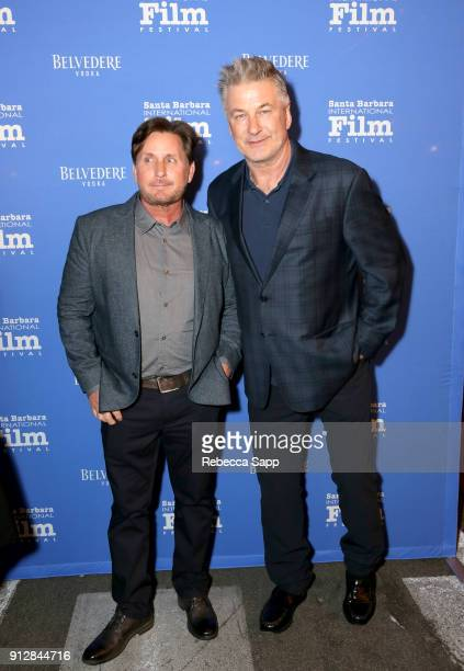 Emilio Estevez and Alec Bladwin at the Opening Night Film 'The Public' Presented by Belvedere Vodka during the 33rd Santa Barbara International Film...
