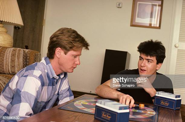 Emilio Estevez and Charlie Sheen at Home