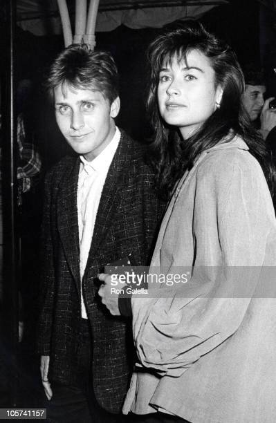 Emilio Estevez and Demi Moore during 'Pretty In Pink' Los Angleles Premiere at Mann's Chinese Theater in Hollywood California United States