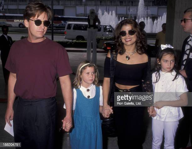 Emilio Estevez and Paula Abdul attend the premiere of 'Home Alone 2 Lost In New York' on November 15 1992 at United Artists Theater in Century City...
