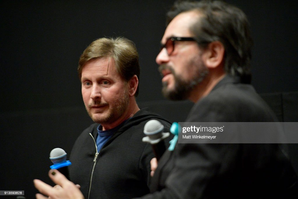 Emilio Estevez and SBIFF Executive Director Roger Durling speak at the Film Studies Q&A during The 33rd Santa Barbara International Film Festival at the the Riviera Theatre on February 2, 2018 in Santa Barbara, California.