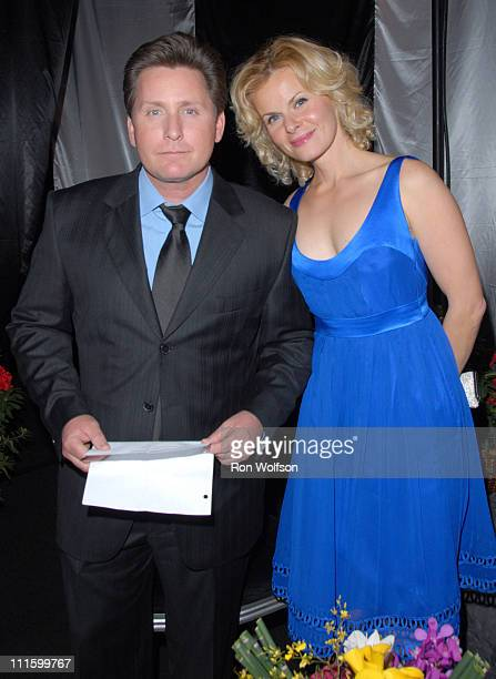 Emilio Estevez and Sonja Magdevski during 13th Annual Screen Actors Guild Awards Backstage and Audience at Shrine Auditorium in Los Angeles...