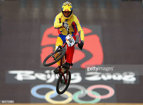 Emilio Falla of Ecuador competes in the Men's BMX Seeding Phase at the Laoshan Bicycle Moto Cross Venue during Day 12 of the Beijing 2008 Olympic...