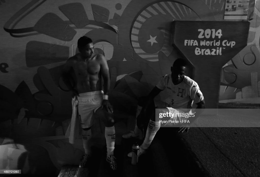Emilio Izaguirre and Maynor Figueroa of Honduras look dejected after the 2014 FIFA World Cup Brazil Group E match between France and Honduras at Estadio Beira-Rio on June 15, 2014 in Porto Alegre, Brazil.