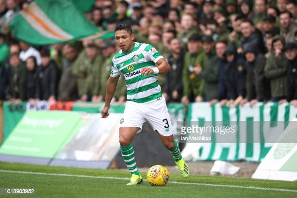 Emilio Izaguirre of Celtic controls the ball during the Betfred Scottish League Cup round of sixteen match between Partick Thistle and Celtic at...