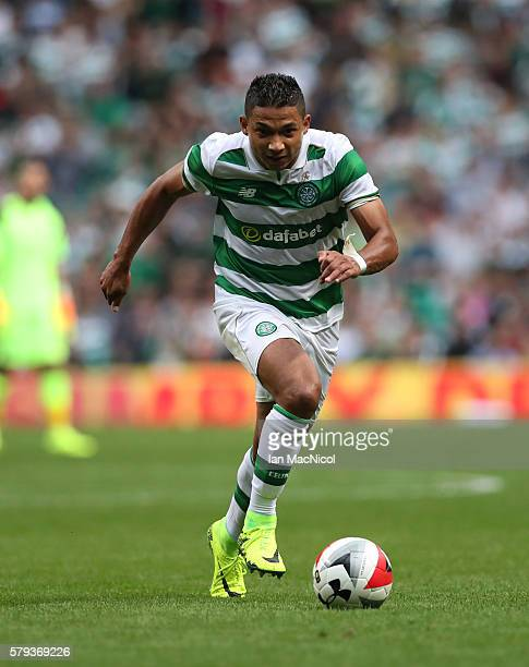 Emilio Izaguirre of Celtic controls the ball during the Pre Season Friendly match between Celtic and Leicester City at Celtic Park Stadium on July...