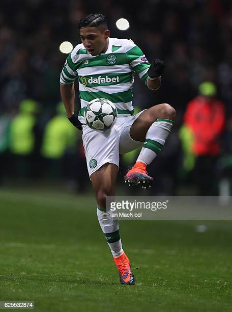 Emilio Izaguirre of Celtic controls the ball during the UEFA Champions League match between Celtic FC and FC Barcelona at Celtic Park Stadium on...