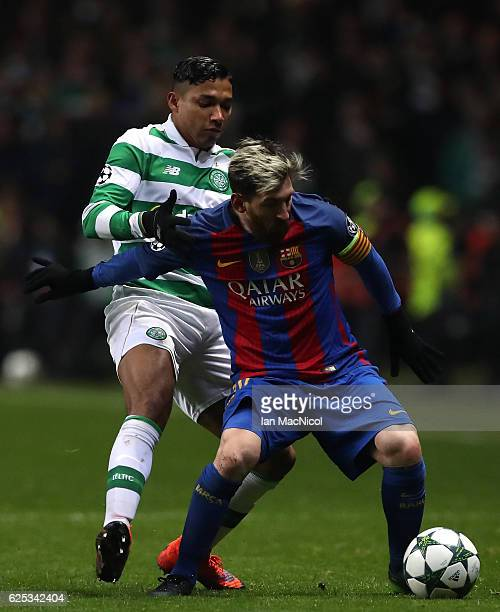 Emilio Izaguirre of Celtic puts pressure on Lionel Messi of Barcelona during the UEFA Champions League Group C match between Celtic FC and FC...