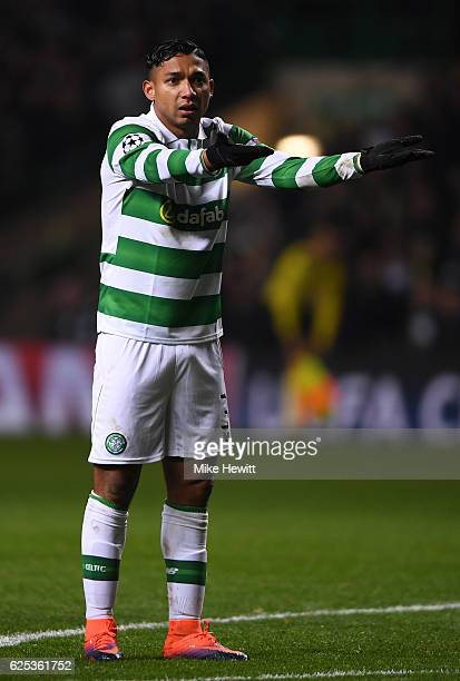 Emilio Izaguirre of Celtic reacts during the UEFA Champions League Group C match between Celtic FC and FC Barcelona at Celtic Park Stadium on...