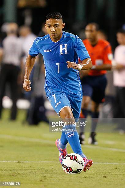 Emilio Izaguirre of Honduras brings the ball up field against the USA during an International Friendly match on October 14, 2014 at FAU Stadium in...