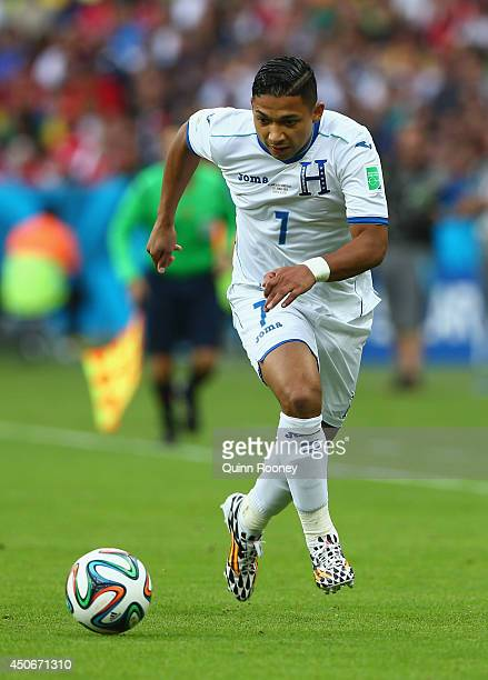 Emilio Izaguirre of Honduras controls the ball during the 2014 FIFA World Cup Brazil Group E match between France and Honduras at Estadio Beira-Rio...