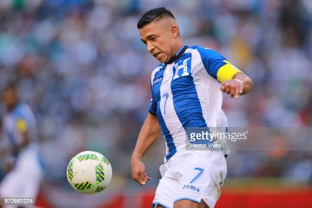Emilio Izaguirre of Honduras drives the ball during a first leg match between Honduras and Australia as part of FIFA World Cup Qualifiers Play Off at...