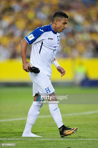 Emilio Izaguirre of Honduras leaves the field with an injury during the 2018 FIFA World Cup Qualifiers Leg 2 match between the Australian Socceroos...