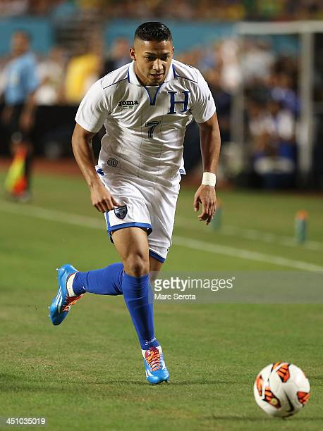Emilio Izaguirre of Honduras plays during the National Anthem of a friendly between Brazil and Honduras at Sun Life Stadium on November 16, 2013 in...