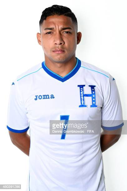 Emilio Izaguirre of Honduras poses during the Official FIFA World Cup 2014 portrait session on June 10, 2014 in Porto Feliz, Brazil.