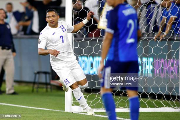Emilio Izaguirre of Honduras scores Honduras' fourth goal during the second half of Honduras v El Salvador Group C 2019 CONCACAF Gold Cup at Banc of...