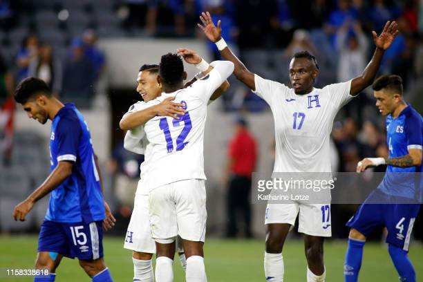 Emilio Izaguirre Romell Quioto and Alberth Elis of Honduras celebrate Izaguirre's goal during the second half of Honduras v El Salvador Group C 2019...