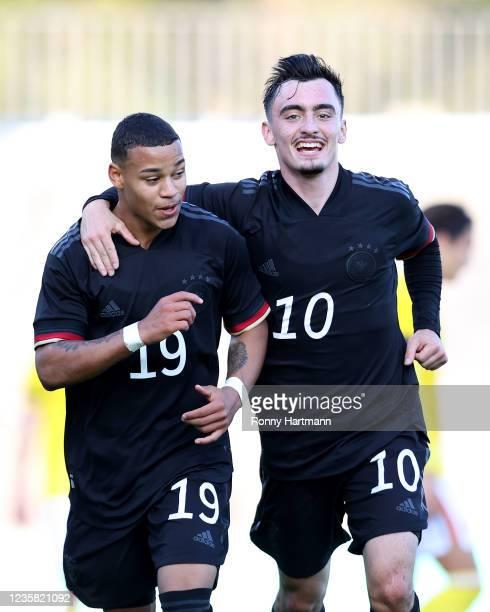Emilio Kehrer of U20 Germany celebrates after scoring his team's second goal with Paul Nebel of U20 Germany during Germany U20 v Romania U20 -...