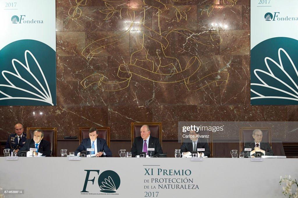 Emilio Lora-Tamayo D'Ocon, Pedro de Borbon-Dos Sicilias y Orleans, King Juan Carlos, Jaime Haddad Sanchez de Cueto and Ricardo Codorniu Gonzalez Villazon preside the FONDENA Award 2017 at the CESIC on November 15, 2017 in Madrid, Spain.