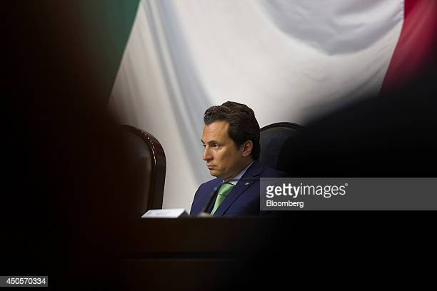 Emilio Lozoya chief executive officer of Petroleos Mexicanos listens during a session of the lower house of the Mexican Congress in Mexico City...