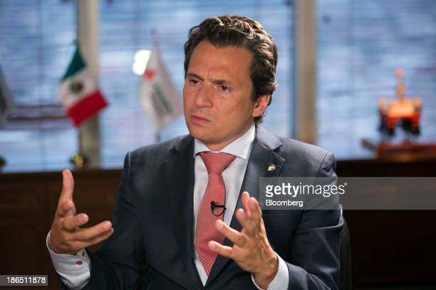 Emilio Lozoya chief executive officer of Petroleos Mexicanos speaks during an interview in Mexico City Mexico on Thursday Oct 31 2013 Pemex the...