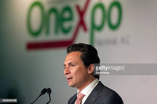Emilio Lozoya chief executive officer of Petroleos Mexicanos speaks at the announcement of an agreement between Pemex and the Mexican gasoline...
