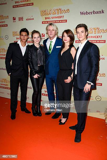 Emilio Moutaoukkil, Lina Larissa Strahl, Detlev Buck, Lisa-Marie Koroll and Louis Held attend the Berlin premiere of the film 'Bibi & Tina - Voll...