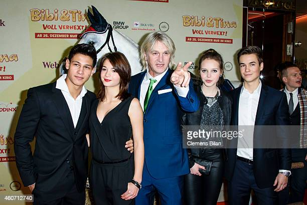 Emilio Moutaoukkil, Lisa-Marie Koroll, Detlev Buck, Lina Larissa Strahl and Louis Held attend the Berlin premiere of the film 'Bibi & Tina - Voll...