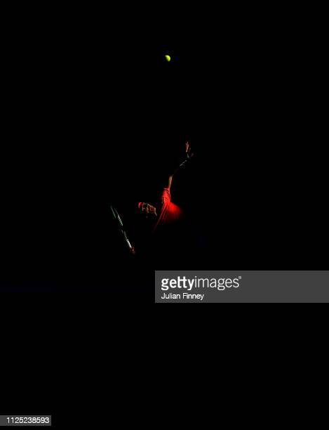 Emilio Nava of the United States serves in his junior boys singles final against Lorenzo Musetti of Italy during day 13 of the 2019 Australian Open...