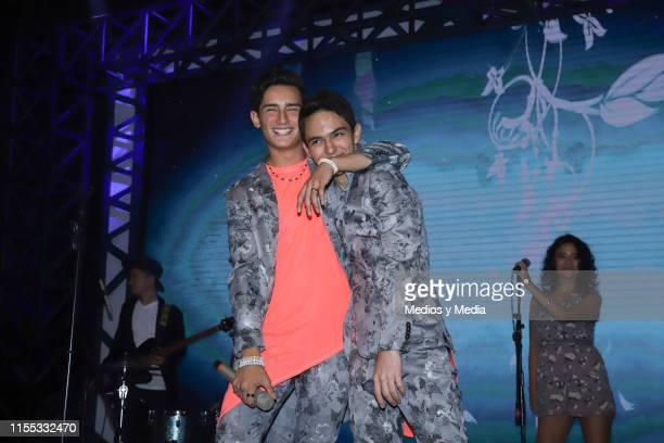 Emilio Osorio and Joaquin Bondoni performs during the presentation of the new TV show 'El CorazÛn Nunca se Equivoca' at Televisa San Angel on June 11...