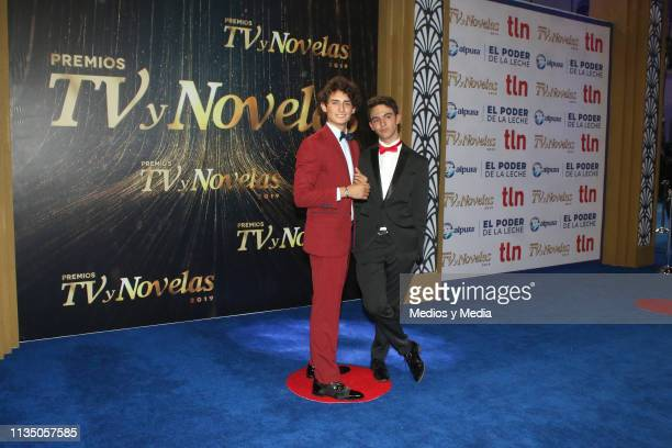Emilio Osorio and Joaquín Bondoni pose on the red carpet during the 'TV y Novelas' Awards 2019 at Campo Marte on March 10 2019 in Mexico City Mexico