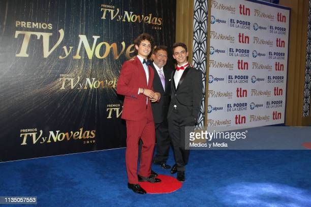 Emilio Osorio Juan Osorio and Joaquín Bondoni pose on the red carpet during the 'TV y Novelas' Awards 2019 at Campo Marte on March 10 2019 in Mexico...