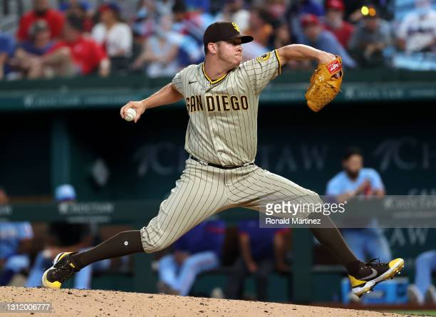 Emilio Pagan of the San Diego Padres throws against the Texas Rangers in the eighth inning at Globe Life Field on April 11, 2021 in Arlington, Texas.