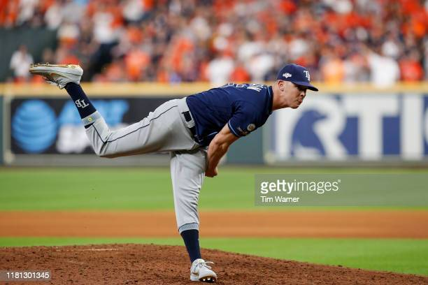 Emilio Pagan of the Tampa Bay Rays pitches in the eighth inning against the Houston Astros during game five of the American League Divisional Series...