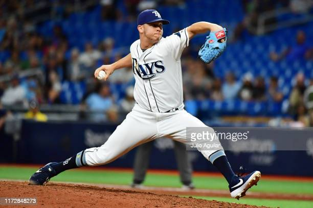 Emilio Pagan of the Tampa Bay Rays pitches to the Toronto Blue Jays in the ninth inning of a baseball game at Tropicana Field on September 06 2019 in...