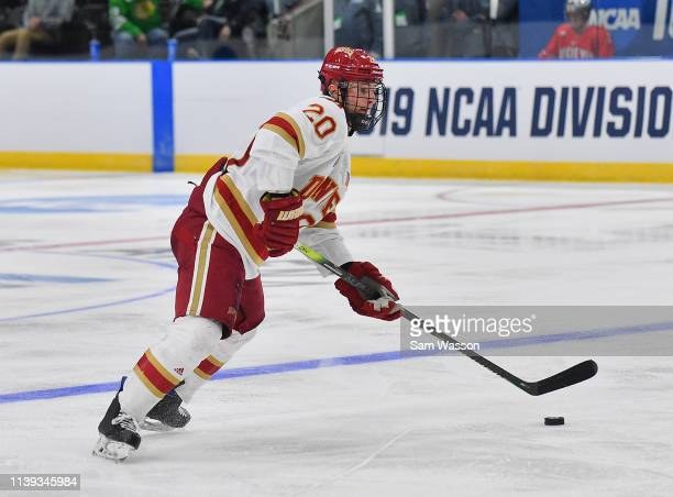 Emilio Pettersen of the Denver Pioneers skates with the puck during his team's NCAA Division I Men's Ice Hockey West Regional Championship Semifinal...