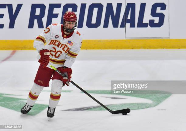 Emilio Pettersen of the Denver Pioneers warms up before an NCAA Division I Men's Ice Hockey West Regional Championship Semifinal game between the...